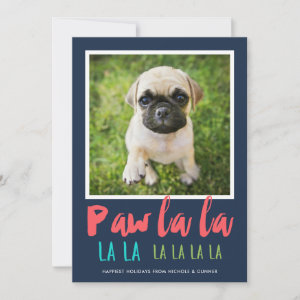 Paw La La Pet Photo Holiday Card