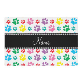 paw pattern rainbow2.png laminated placemat