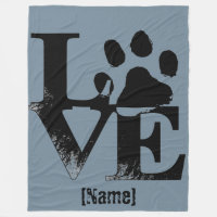 Paw Print in LOVE Fleece Blanket