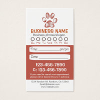 Paw print veterinarian appointment cards