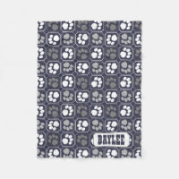 Paw Prints Tile Design Navy Blue Fleece Blanket