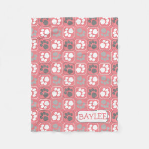 Paw Prints Tile Design Pink and Grey Fleece Blanket