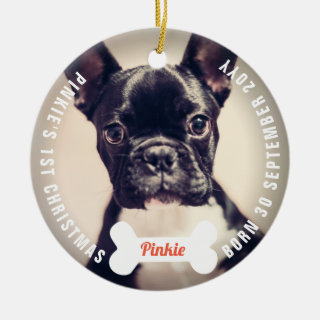 Paws And Bones Dog Lover Pet First Christmas Photo Ceramic Ornament