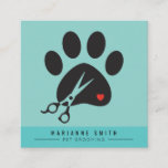 Paws Pet Grooming Salon Square Business Card