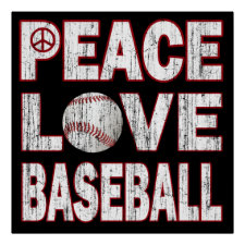 PEACE LOVE BASEBALL POSTER