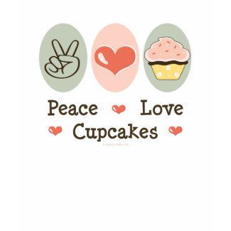 Peace Love Cupcakes Distressed Tee shirt