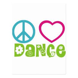 Peace Love Dance Postcard