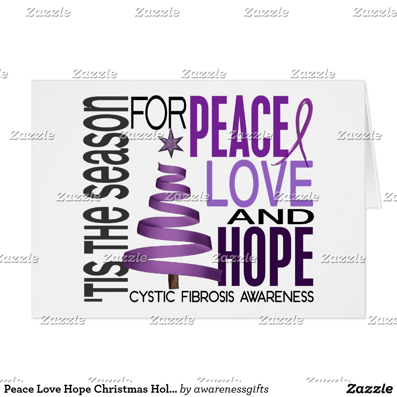Peace Love Hope Christmas Holiday Cystic Fibrosis Greeting