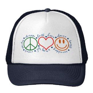 Peace Love Laugh Hat