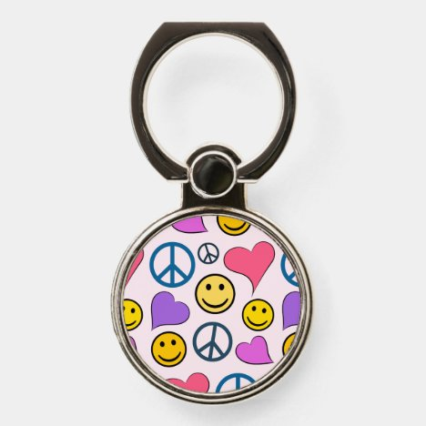 Peace Love Laugh Pattern Phone Ring Stand