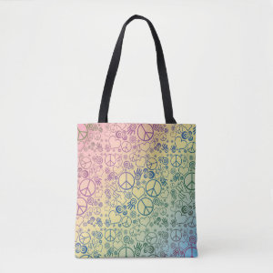Peace Love Rainbow Design Tote Bag
