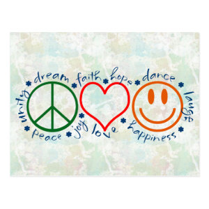 Peace Love Smile Postcard