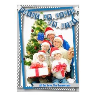 Peace on Earth Blue Photo Card