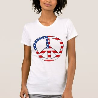 Peace Sign American Flag T-Shirt  (PERSONALIZE)