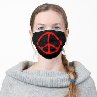 Peace Sign Symbol | Red and Black Cloth Face Mask