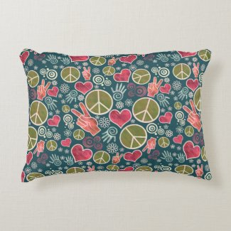 Peace Symbol Hipster Pacifism Sign Design pattern Accent Pillow