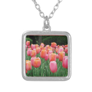 Peach and Pink Tulips Personalized Necklace