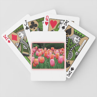 Peach and Pink Tulips Poker Deck