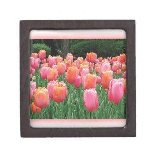 Peach and Pink Tulips Premium Trinket Box