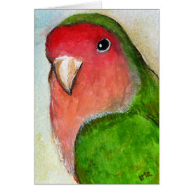 Peach Faced Lovebird Painting Note Card