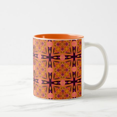 Peach Purple Abstract Fresh Moroccan Lattice Quilt Two-Tone Coffee Mug