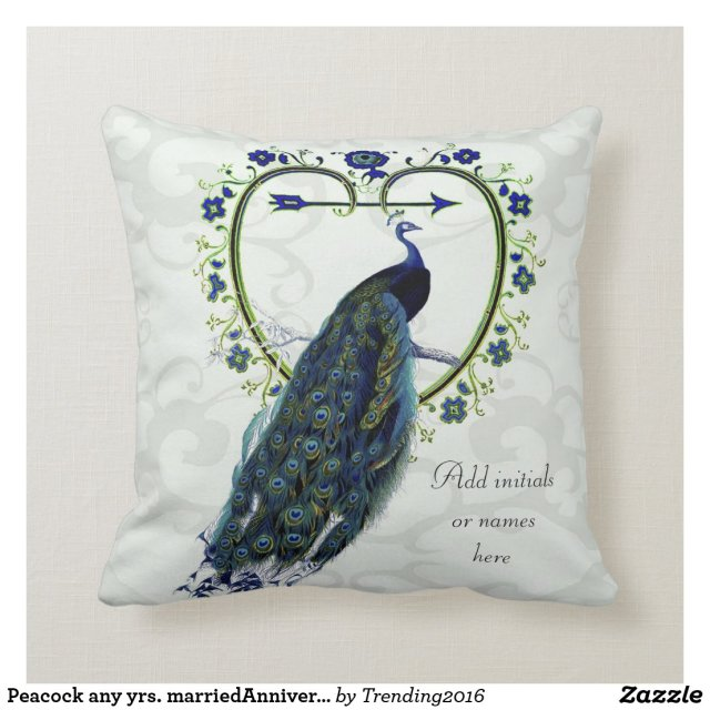 Peacock any yrs. marriedAnniversary Commemorative Throw Pillow
