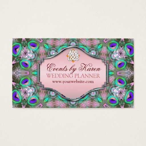 Peacock Fractals Wedding Planner Business Cards