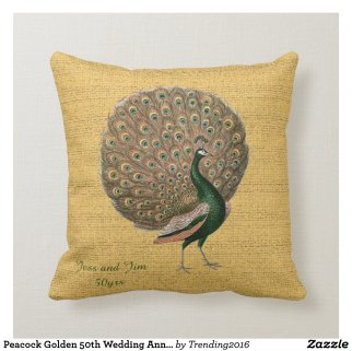 Peacock Golden 50th Wedding Anniversary Throw Pillow