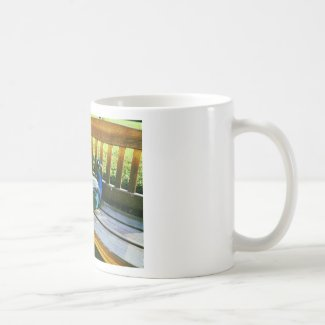 Peacock on the bench classic white coffee mug