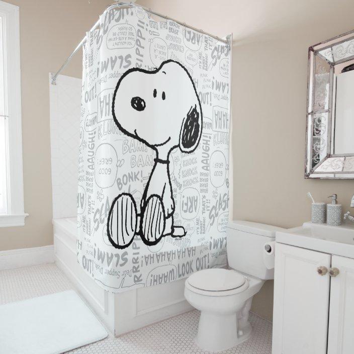 peanuts snoopy on black white comics shower curtain zazzle com