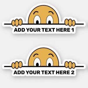 Peeking Cartoon Face Custom Text Contour Cut Sticker