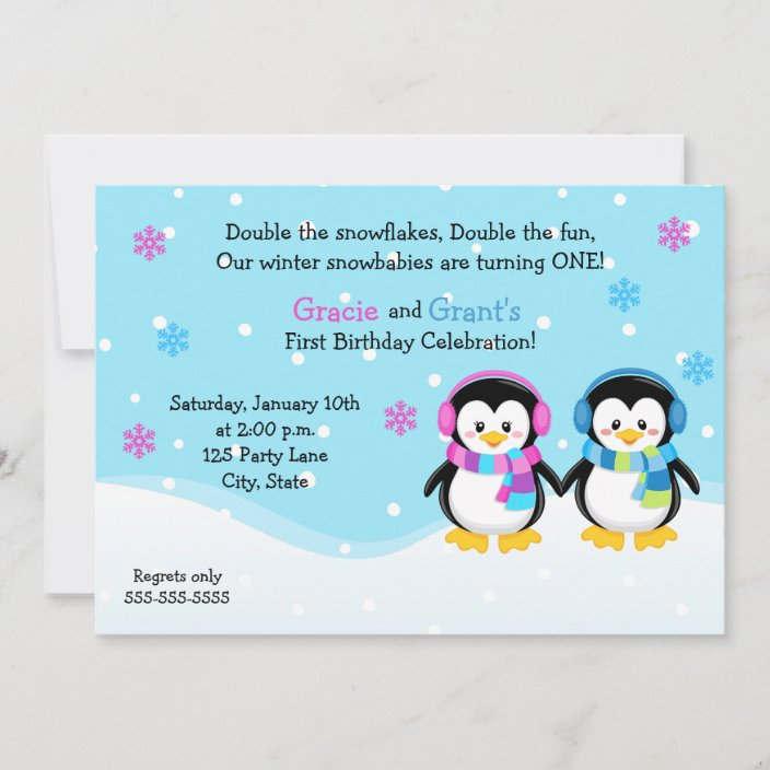 penguin twins birthday invitation boy girl invitation zazzle com