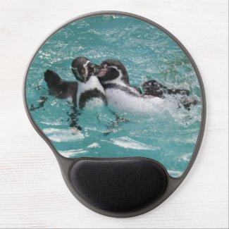 Penguins playing in the Water Gel Mousepad