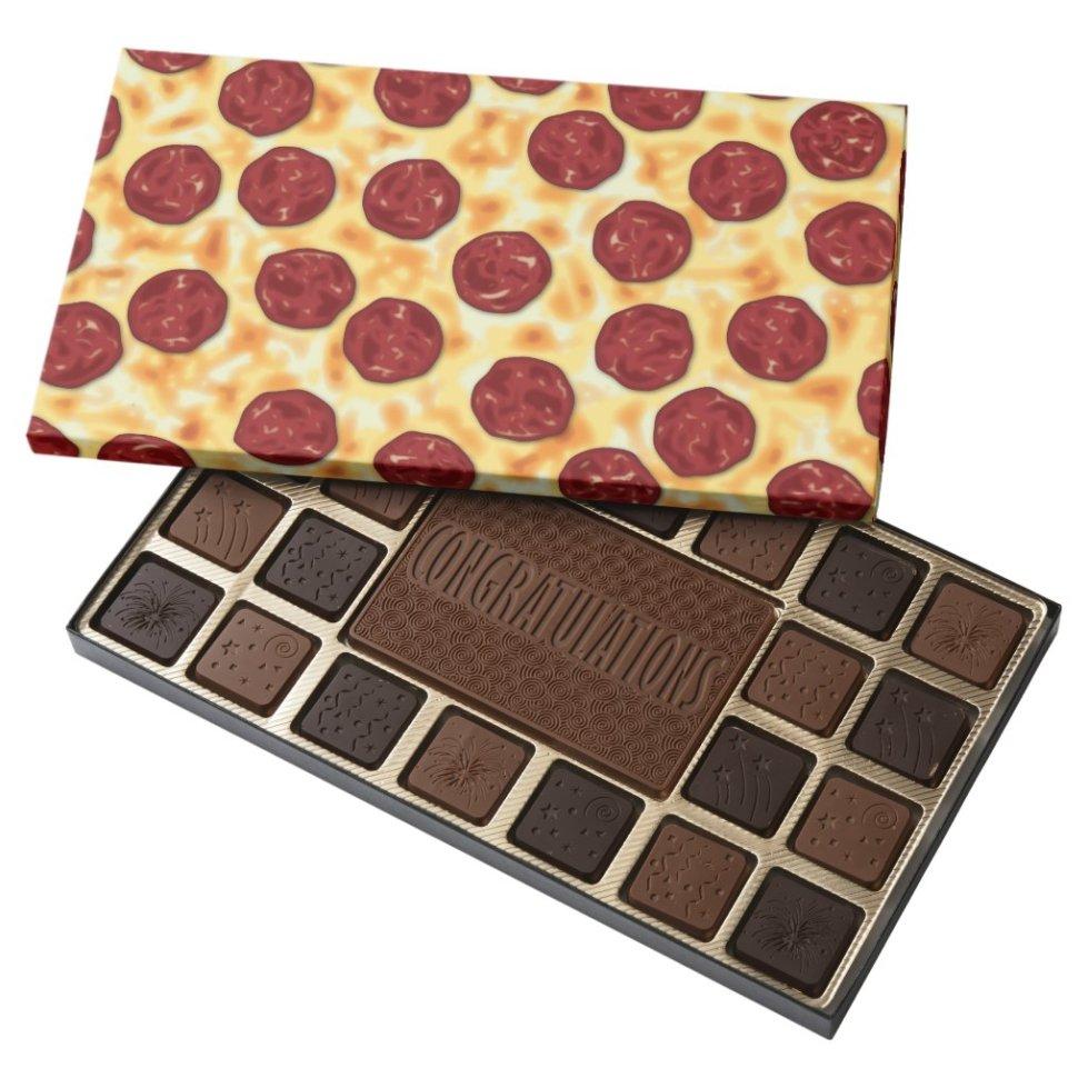 Pepperoni Pizza Pattern 45 Piece Box Of Chocolates