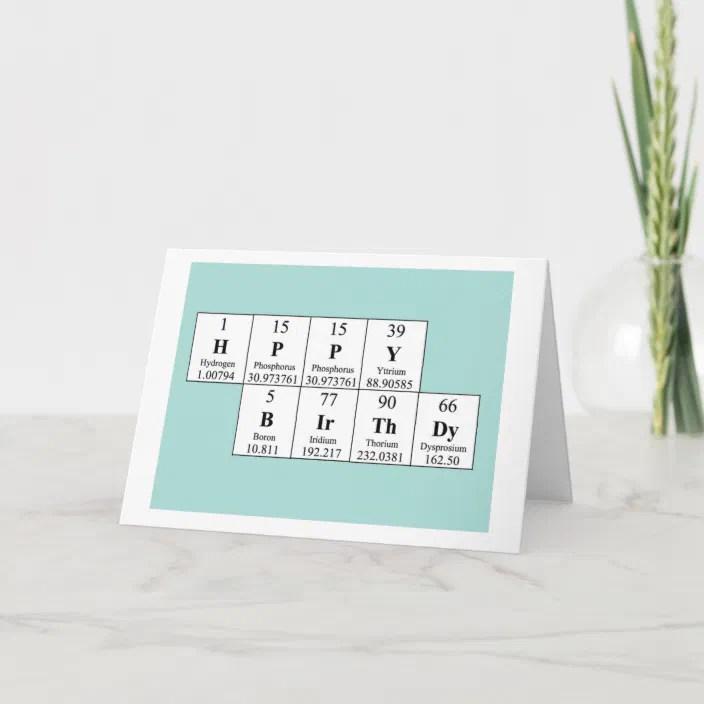 Periodic Table Birthday Card Zazzle Com