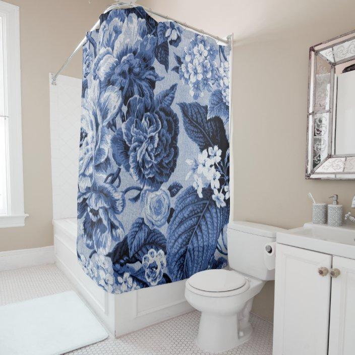 periwinkle blue vintage floral toile no 1 shower curtain zazzle com