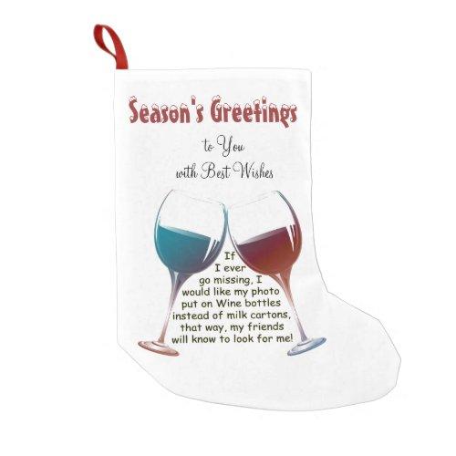 Personalise Fun Wine Saying Christmas Stocking