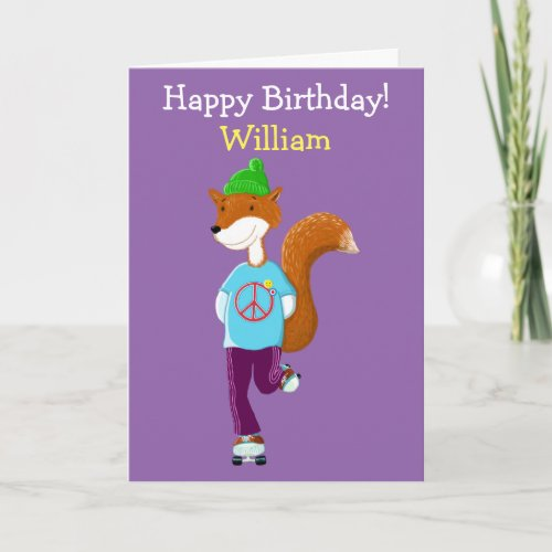 Personalised Fox On Roller Skates Card
