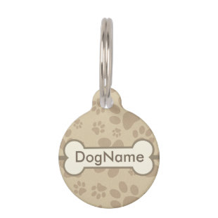Personalize Brown Dog Paw Prints Pet Nametags