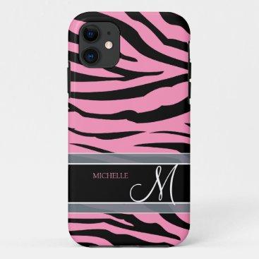 Personalize Bubble Gum Pink & Black Zebra Stripes iPhone 11 Case