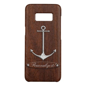 Personalize it! Wet Nautical Mahogany Anchor Steel Case-Mate Samsung Galaxy S8 Case