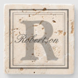 Personalize Name Monogram Initials Stone Coaster