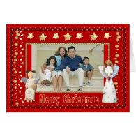Personalize Vintage Angels Folk Art Photo Frame Greeting Cards