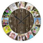 Personalized 12 Photo Collage Dark Wood Round Large Clock
