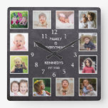 Personalized 12 Photo Collage Frame Chalkboard Square Wall Clock