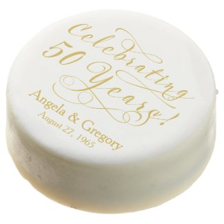 Personalized 50th Wedding Anniversary Gold White Chocolate Covered Oreo