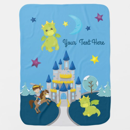 Personalized Baby Dragons & Knight Nursery Theme Baby Blanket