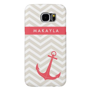 Personalized Beige Chevron and Hot Pink Anchor Samsung Galaxy S6 Case