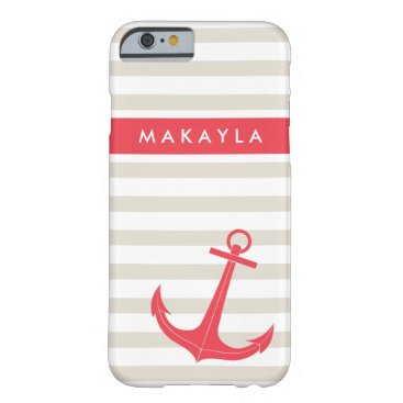 Personalized Beige Stripes and Hot Pink Anchor Barely There iPhone 6 Case