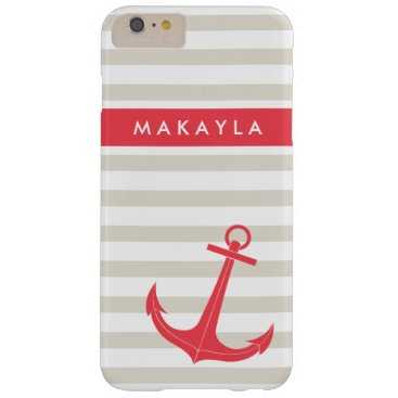 Personalized Beige Stripes and Hot Pink Anchor Barely There iPhone 6 Plus Case
